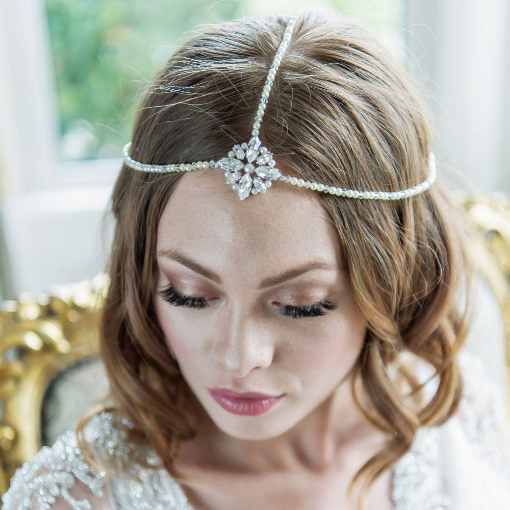 3 Strand Pearl Vintage Bohemian Bridal Headpiece