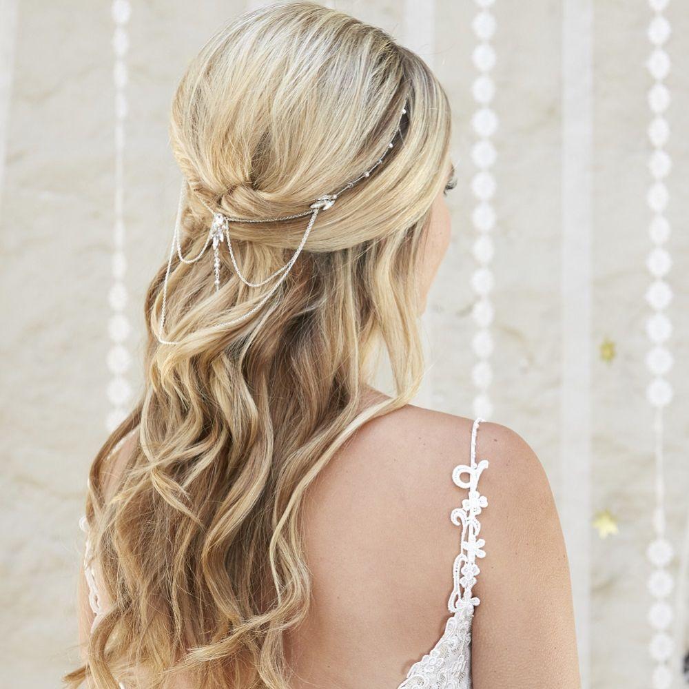 Arianna Aurora Draped Chain Bridal Headpiece