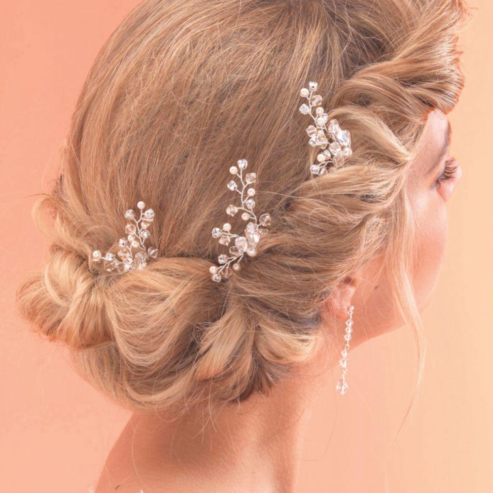 Arianna Set of 3 Crystal and Pearl Branch Bridal Hair Pins