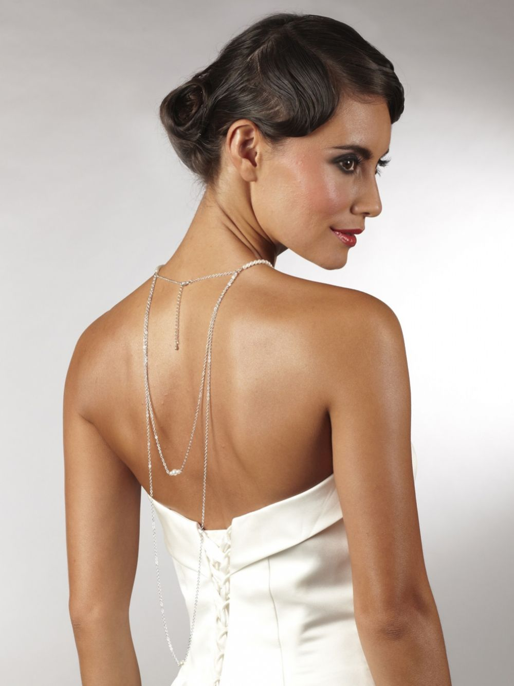 Arianna Long Pearl Backdrop Wedding Necklace