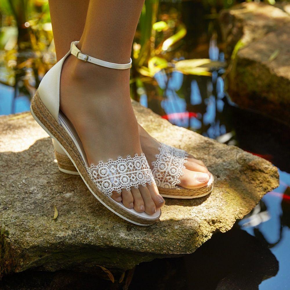 Avalia Bahia Ivory Lace and Satin Boho Espadrille Sandals