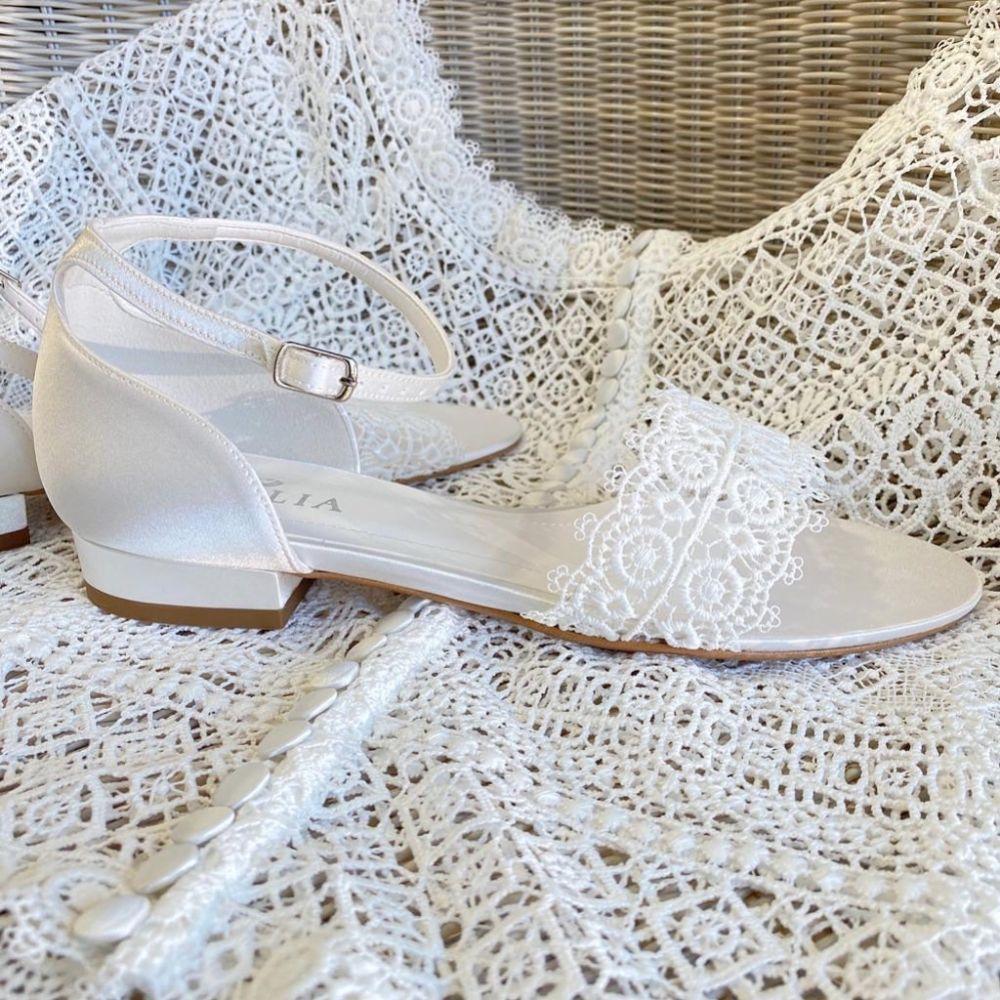 Avalia Bonnie Ivory Lace and Satin Boho Bridal Sandals