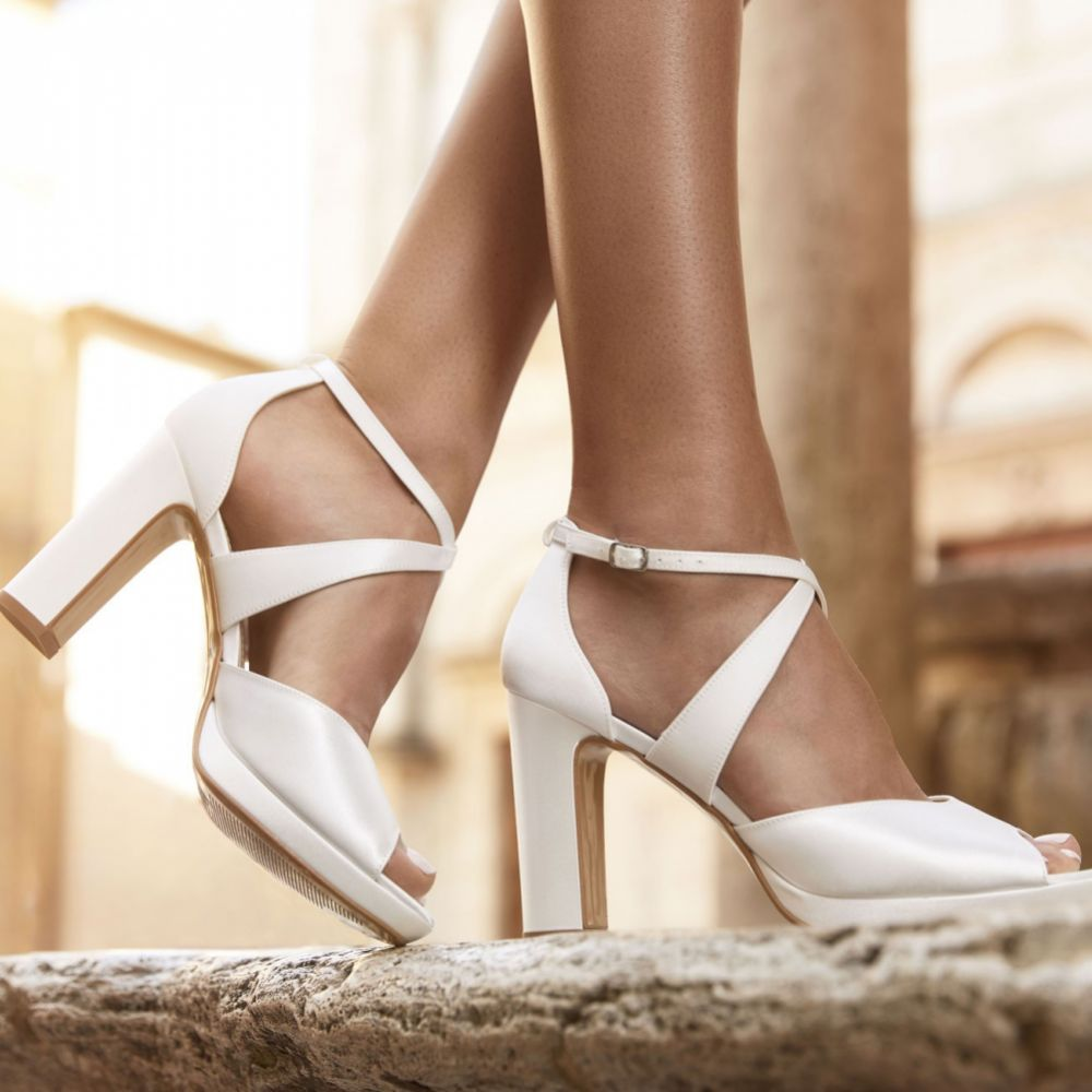 Avalia Cindy Ivory Satin Cross Strap Block Heel Platform Sandals