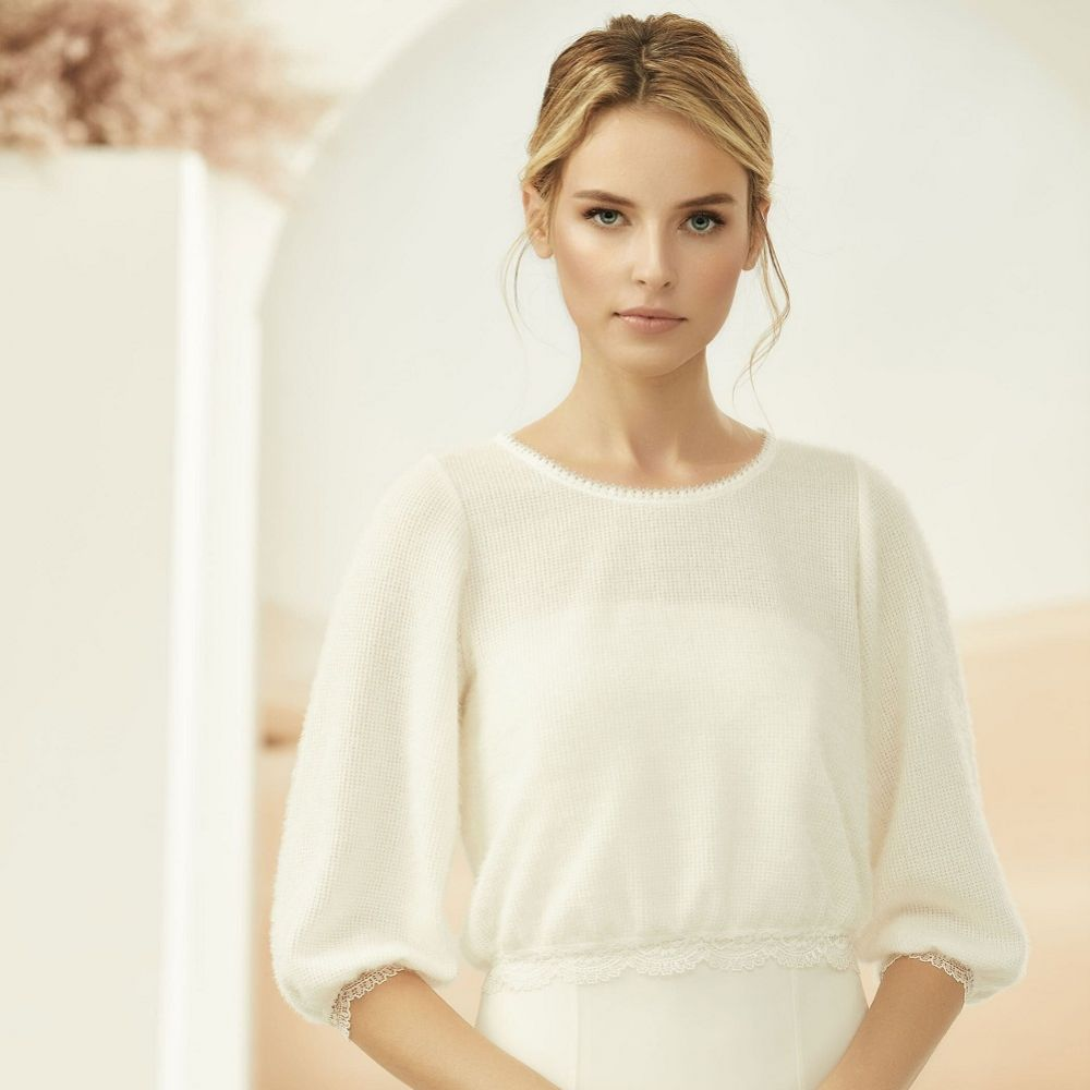 Bianco Ivory Cashmere Effect Bridal Jumper With Lace Details