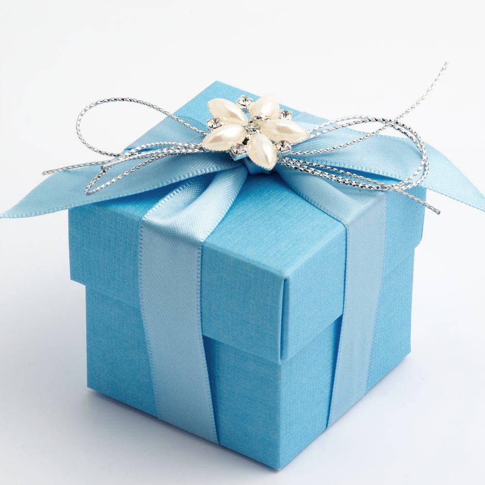 blue silk wedding favour box
