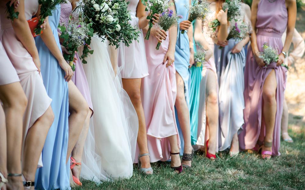 Line of bridesmaids