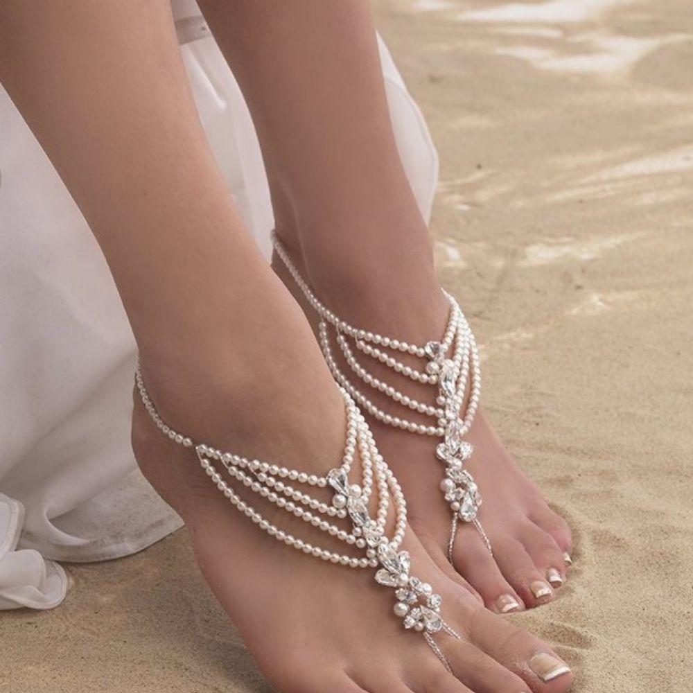 Arianna Draped Pearl and Diamante Barefoot Jewellery