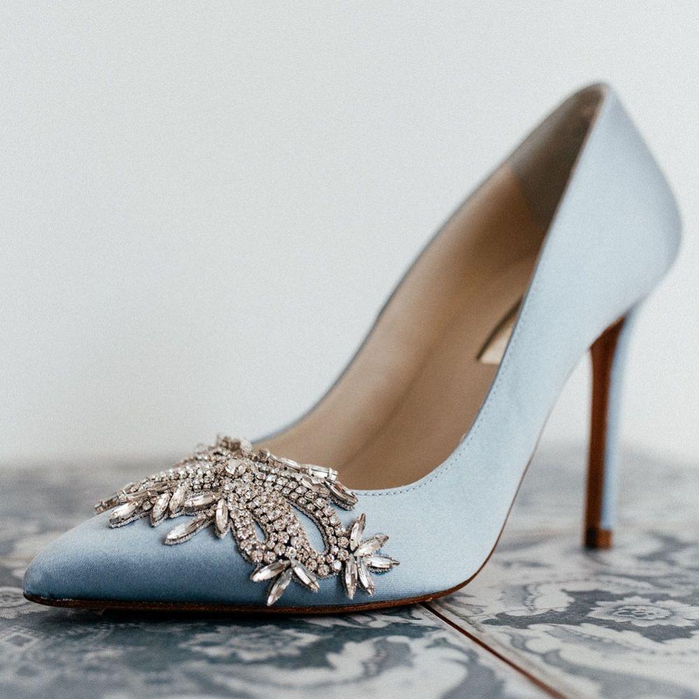 Freya Rose Celina Blue Satin Crystal Embellished Pointed Toe Courts