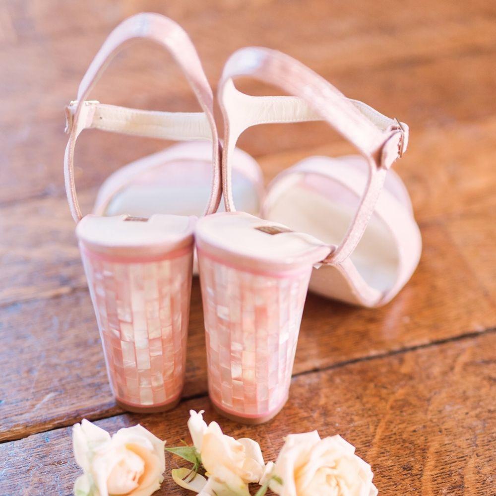 Freya Rose Martina Rosa Suede Mother of Pearl Block Heel Sandals