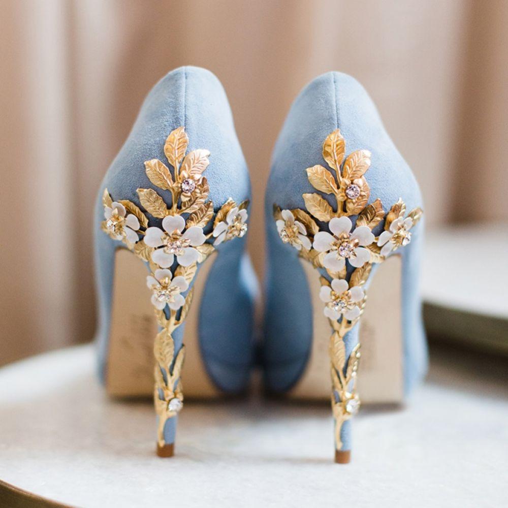Harriet Wilde Amy Blue Blossom Embellished Heel Platform Courts