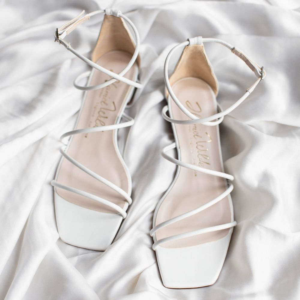 Harriet Wilde Empire Flat Ivory Leather Square Toe Strappy Sandals