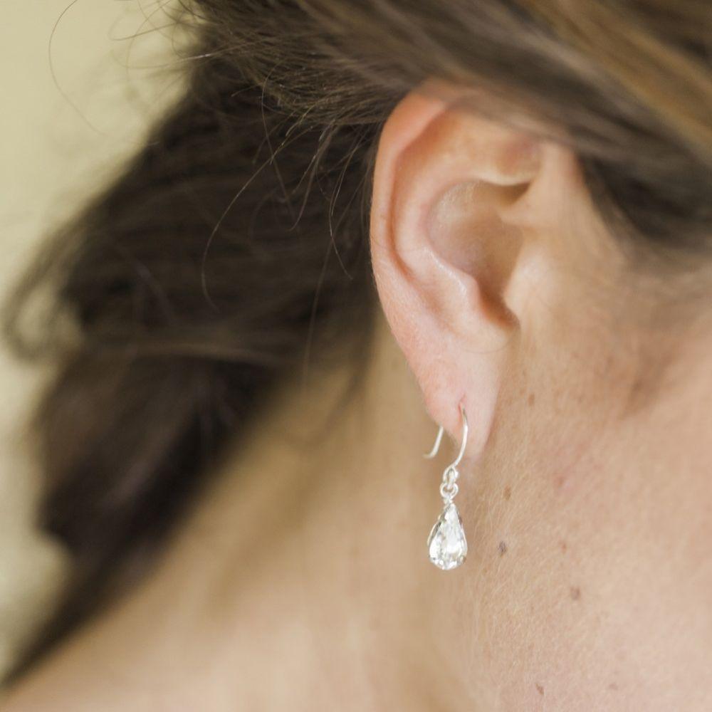 Hermione Harbutt Paris Silver Crystal Teardrop Earrings