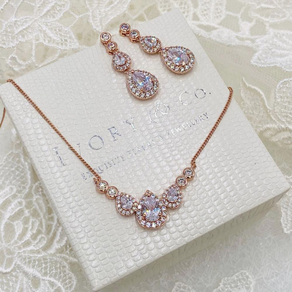 Ivory and Co Sorbonne Rose Gold Bridal Jewellery Set