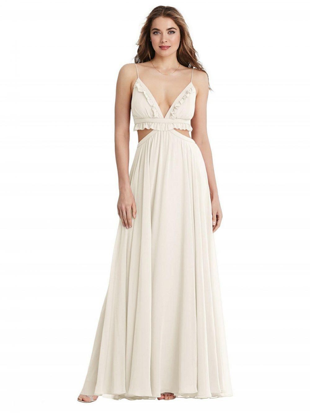 Jessie Ruffled Chiffon Cut-out Boho Maxi Wedding Dress