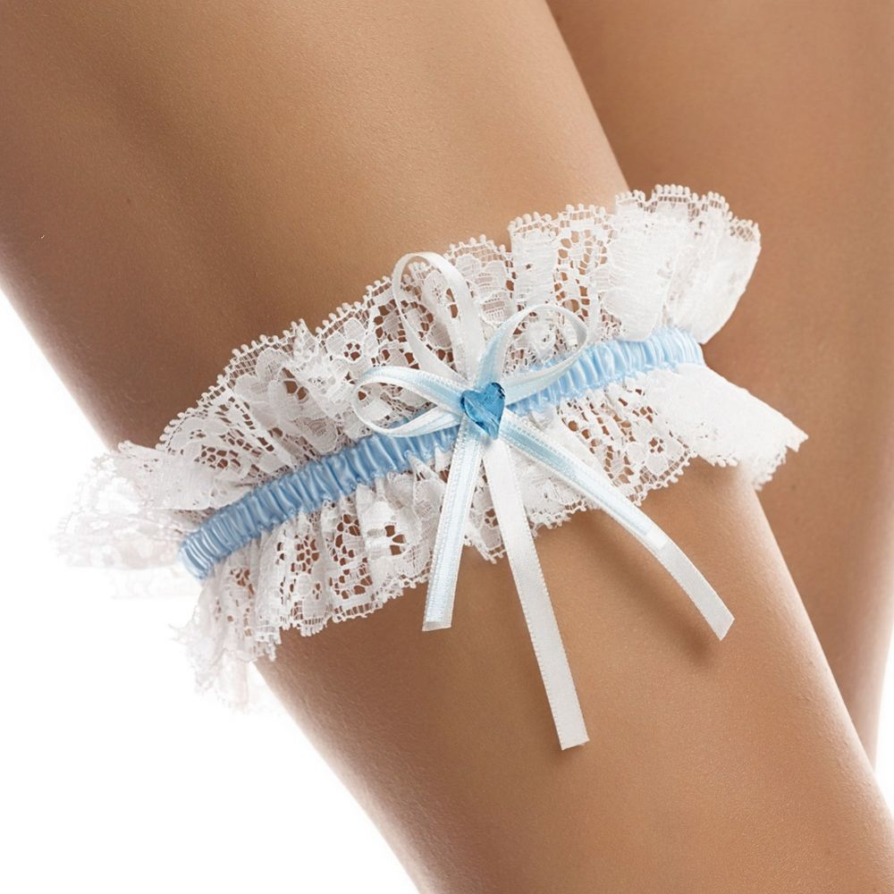 Lace Garter with Blue Heart