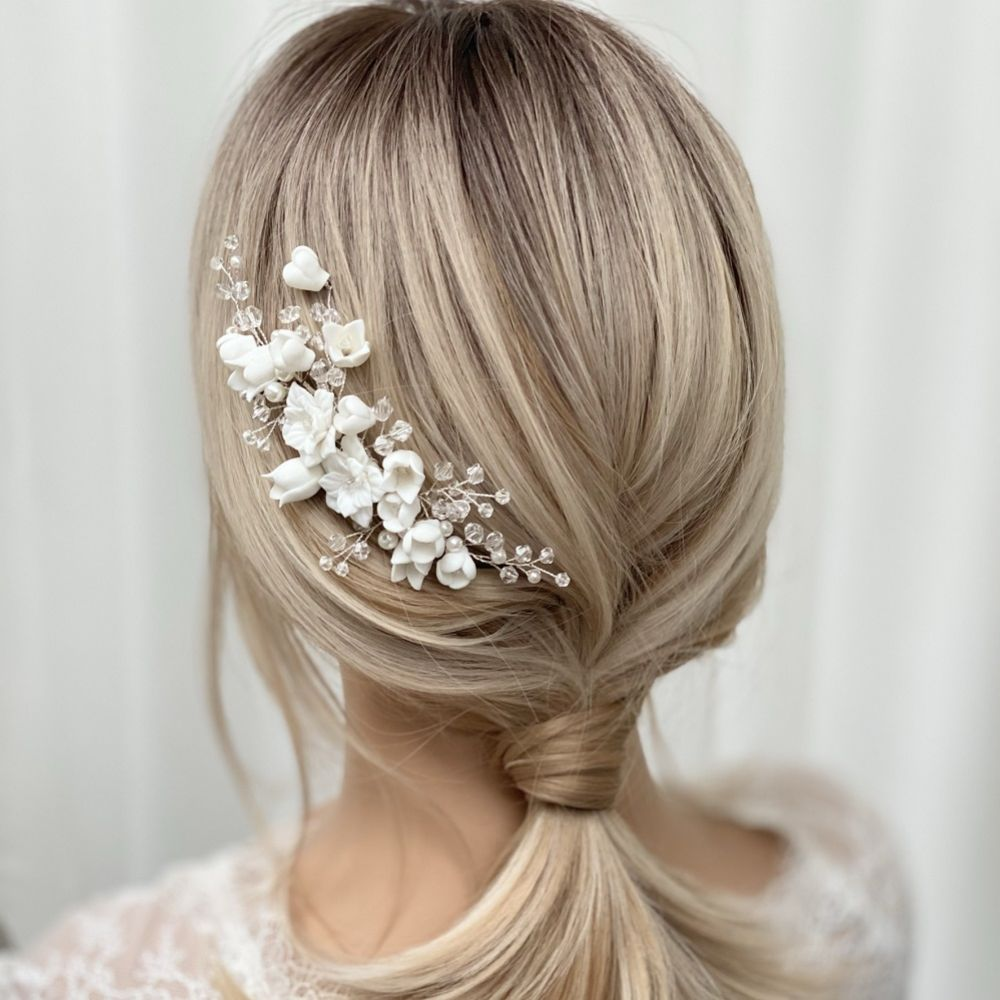 Lily of the Valley Porcelain Flowers Hair Comb