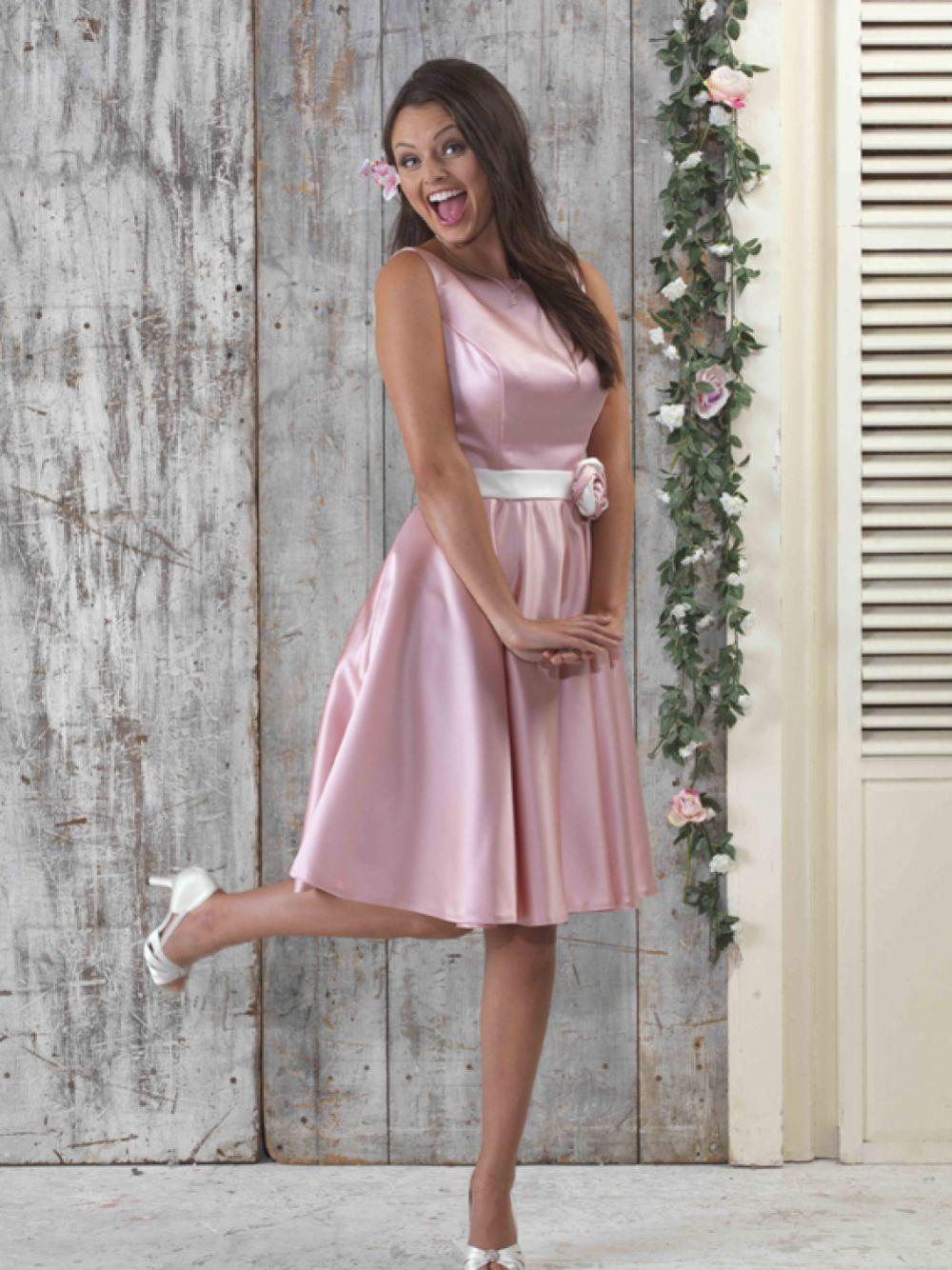 Linzi Jay Fifties Style Knee Length Satin Bridesmaid Dress