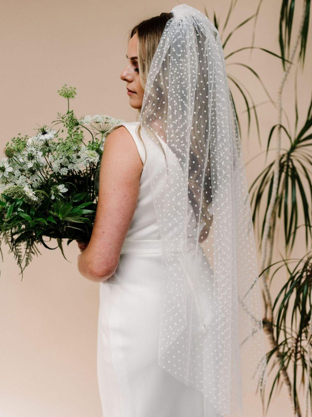 Linzi Jay Polka Dot Tulle Single Tier Bridal Veil
