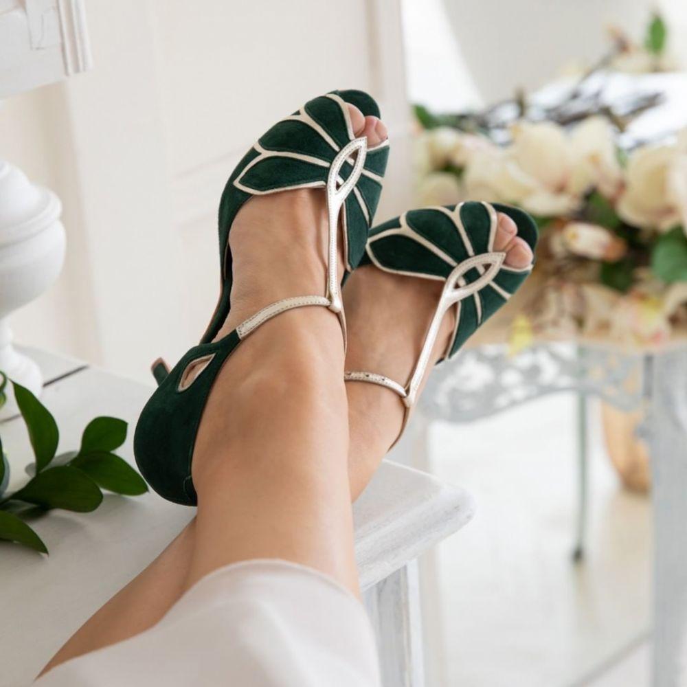 Rachel Simpson Mimosa Forest Green Suede Vintage T-Bar Shoe