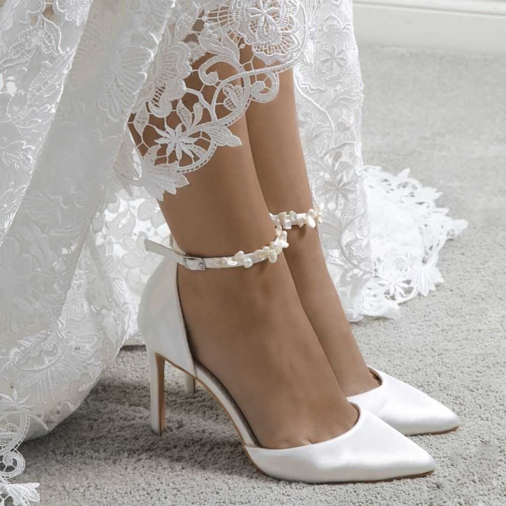 Shoes Wedding Shoes Perfect Bridal Ella Dyeable Ivory Satin Keshi Pearl Ankle Strap Court Shoe