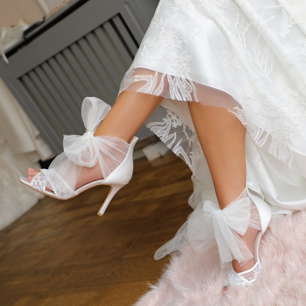 Perfect Bridal Kennedy Ivory Satin and Embroidered Lace Sandals with Tulle Bow