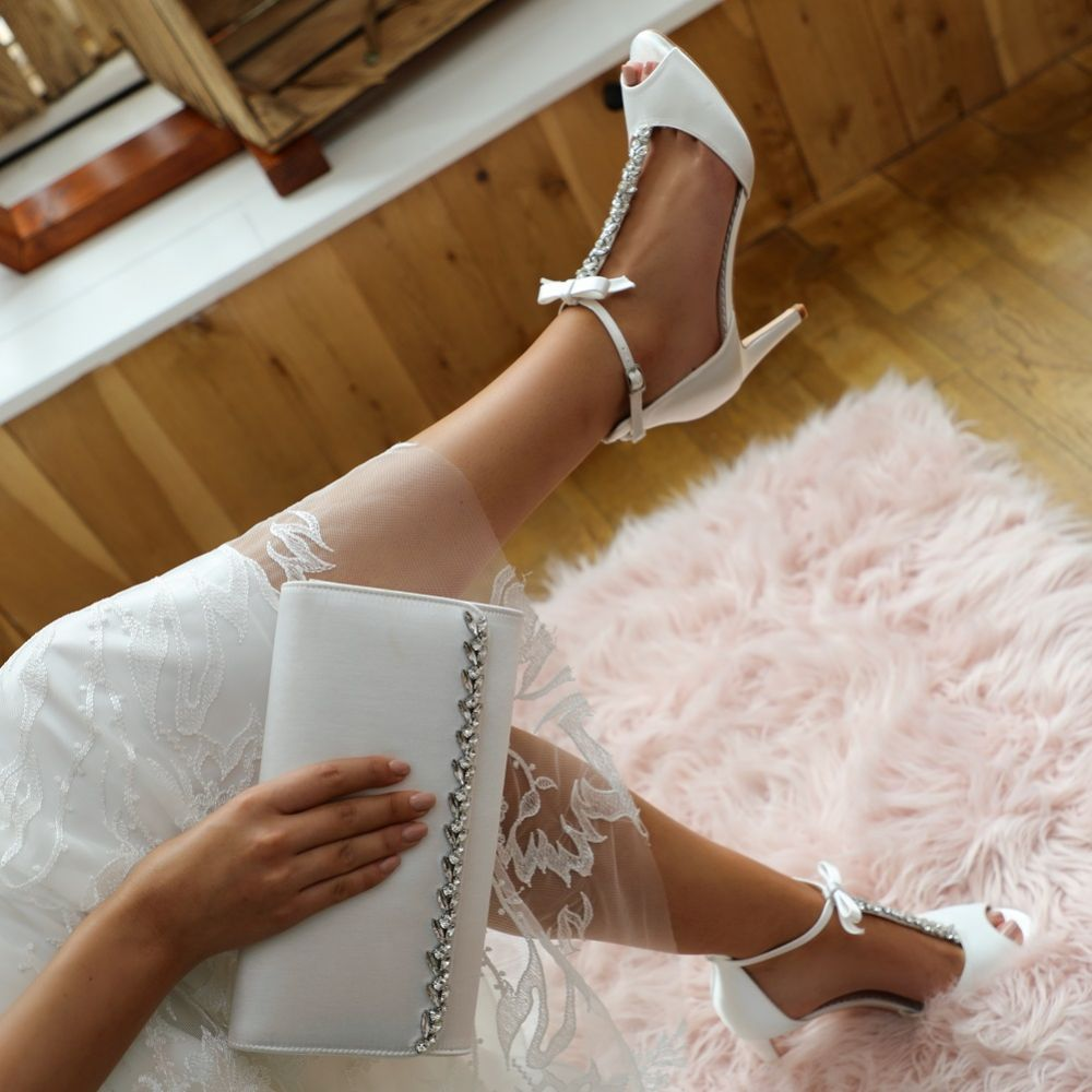 Perfect Bridal Phoenix Dyeable Ivory Satin Crystal T-Bar Sandals