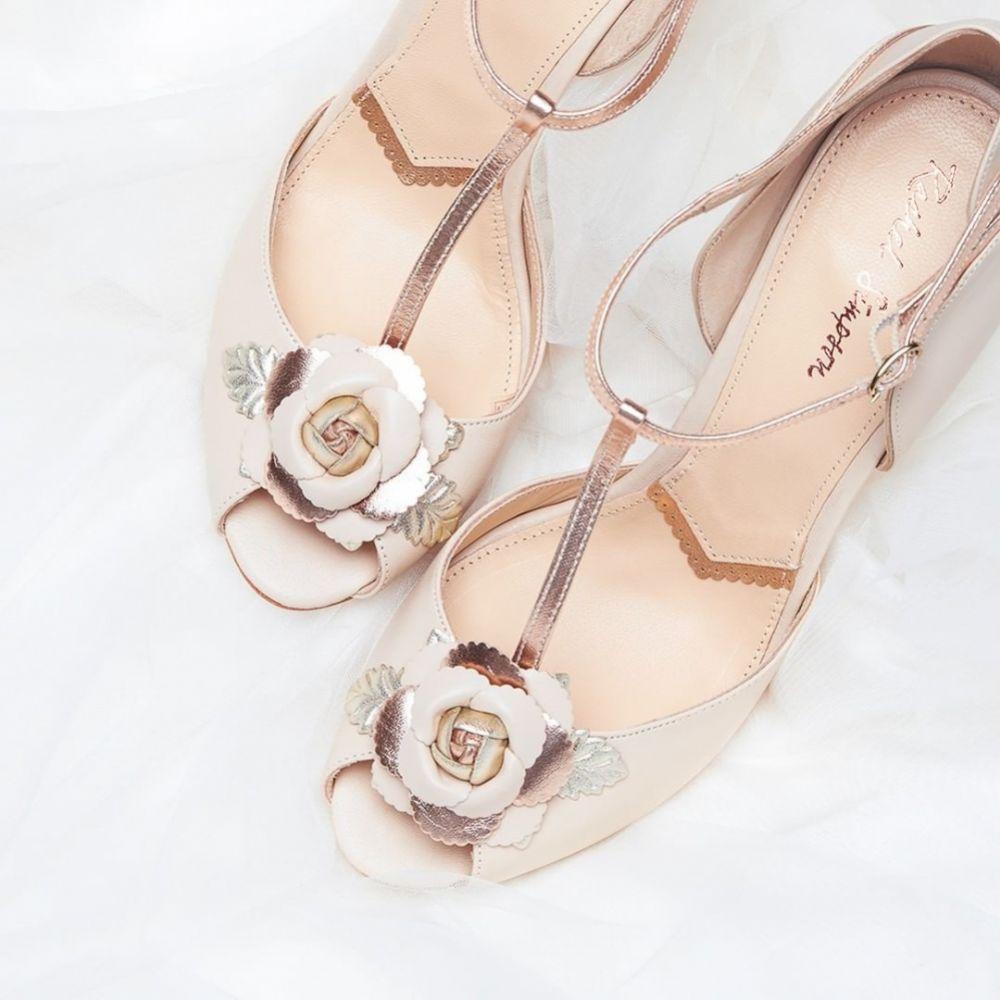 Rachel Simpson Gabriella Blush Ivory Leather Vintage T-Bar Wedding Shoes