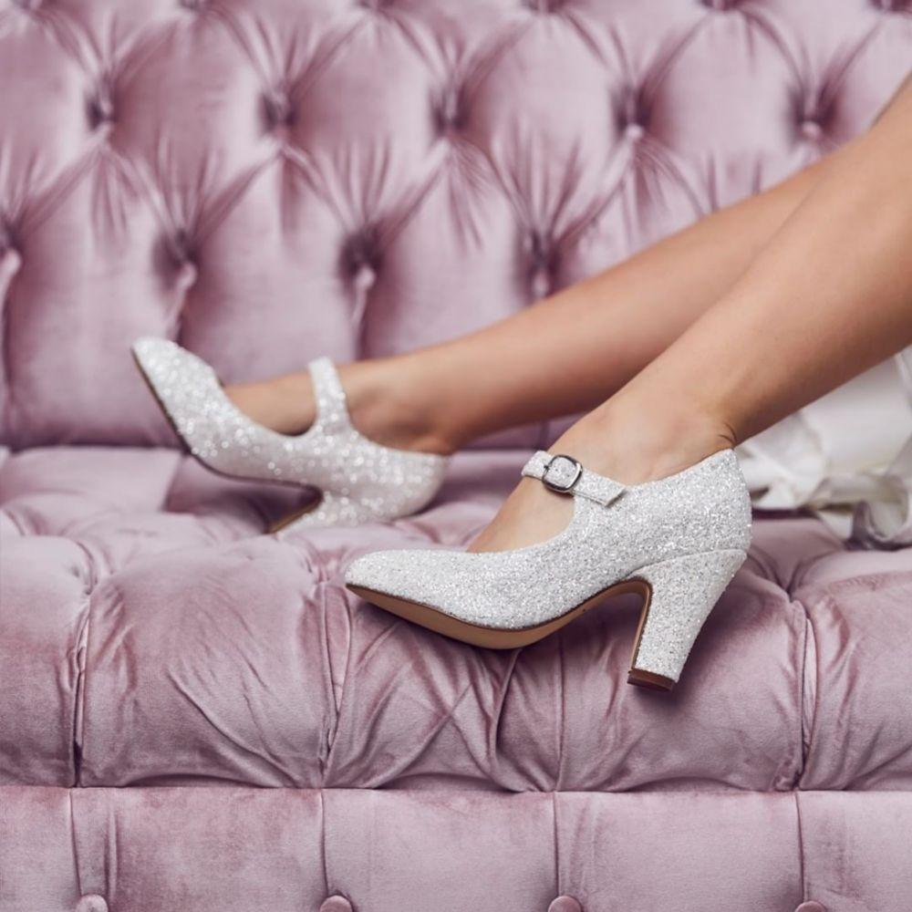 Rainbow Club Madeline Ivory Snow Glitter Mary Jane Shoes