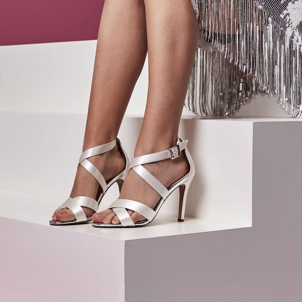 Shoes Wedding Shoes Rainbow Club Reese Dyeable Ivory Satin Strappy Sandals