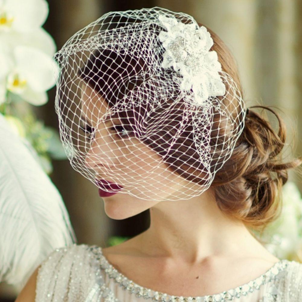 SassB Couture Crystal Embellished Floral Bridal Birdcage Veil