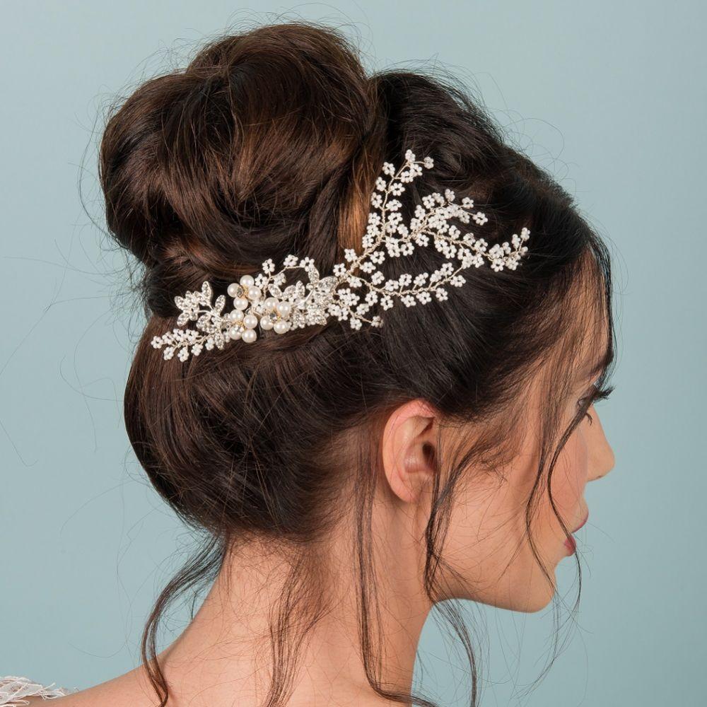 Thalia Seed Beads and Crystal Leaves Hair Vine