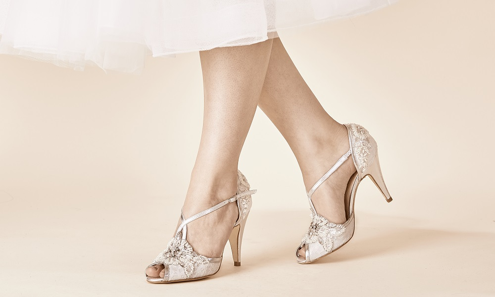 Charlotte Ivory Lace and Silver Leather T-Bars