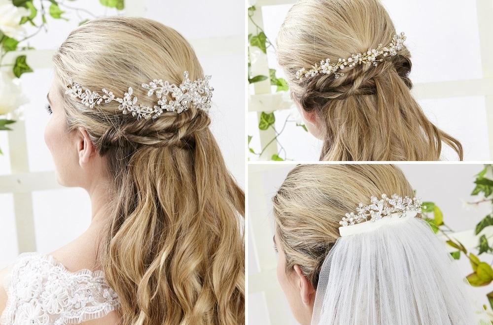 Half up hair style with hair vine