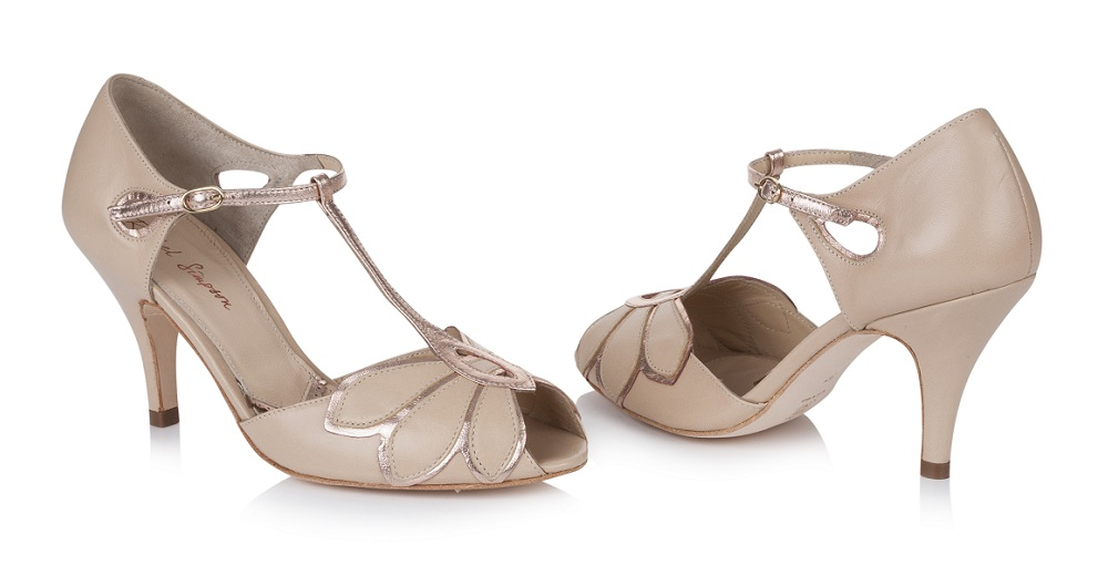 Mimosa Rose Gold Leather T-Bar Shoes