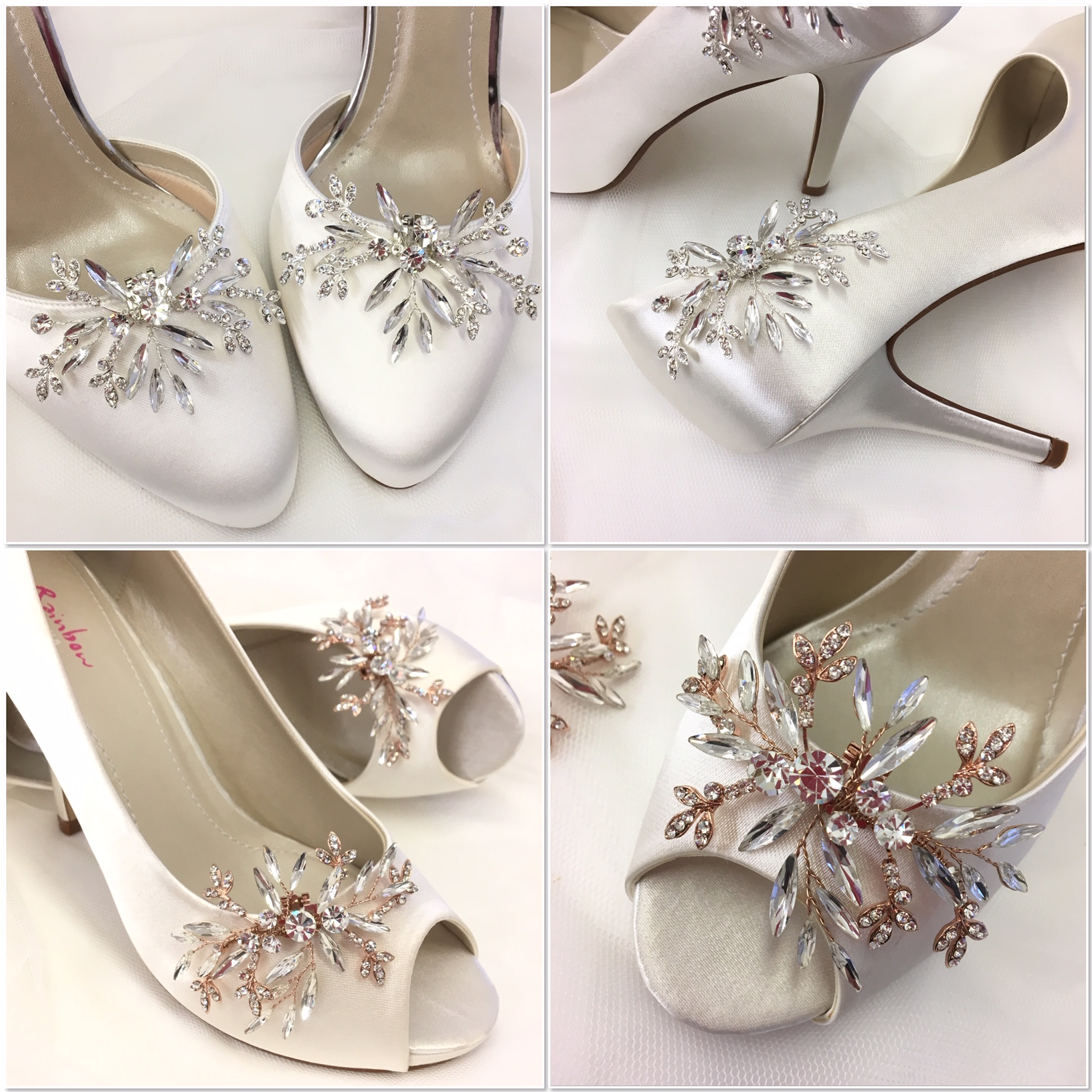 Silver and rose gold shoe clips