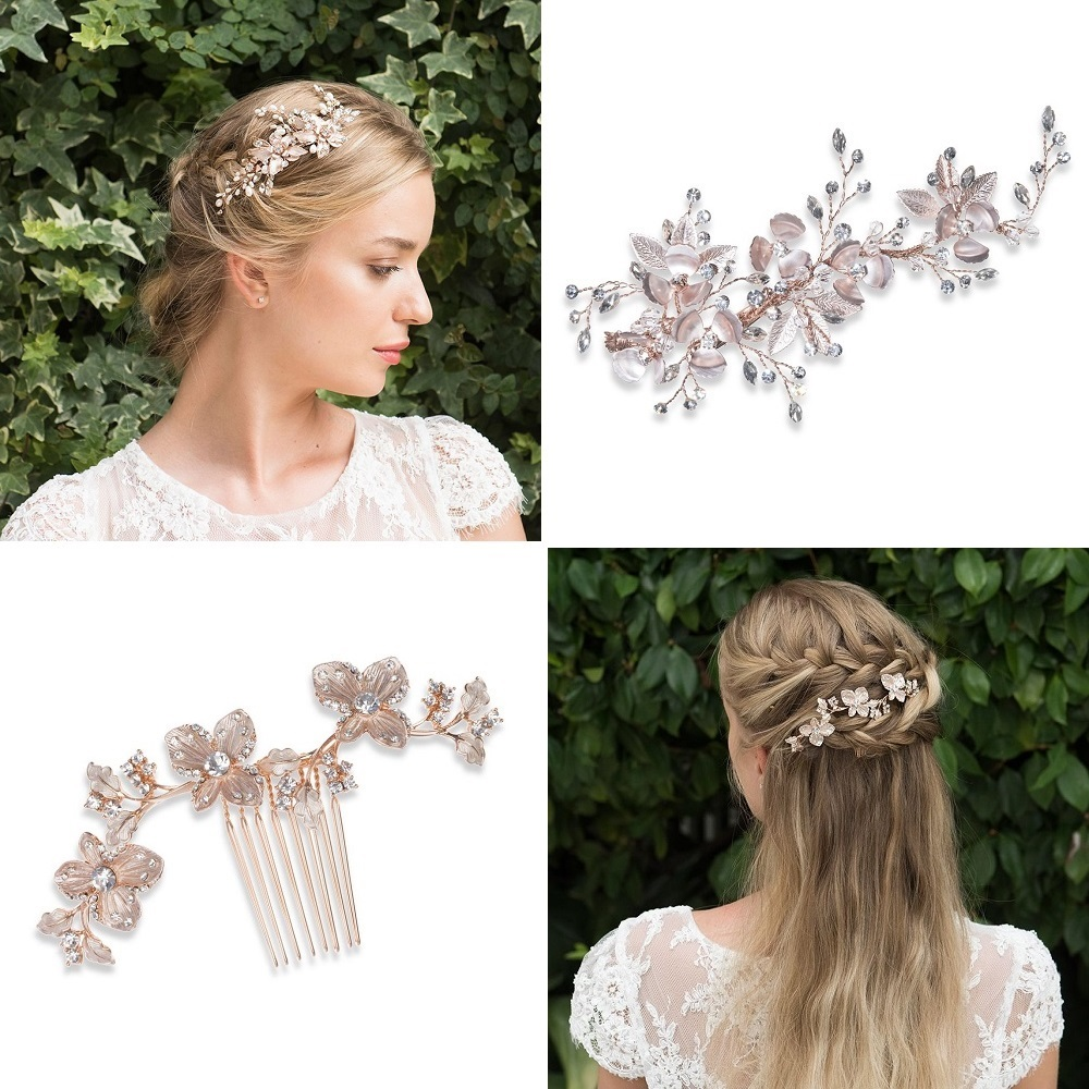 Siren and Petunia rose gold hair accessories