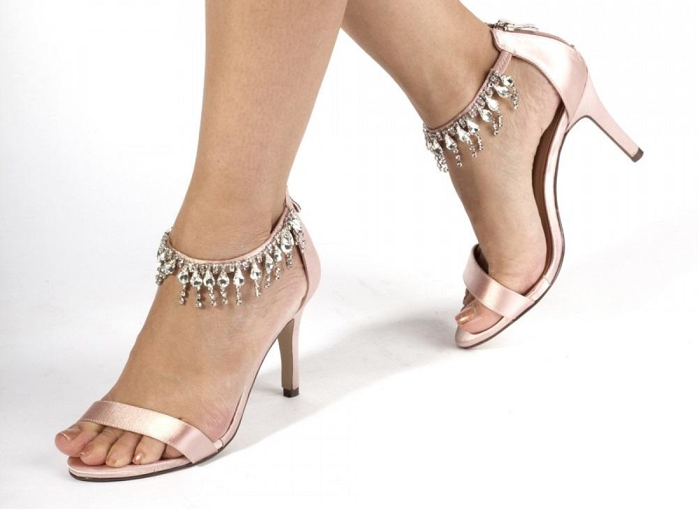 Tamara Blush Satin Crystal Sandals