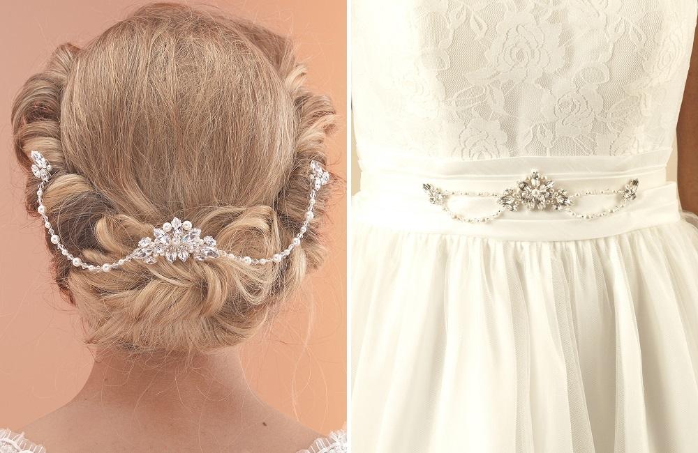 ar520 hair drape and matching dress belt